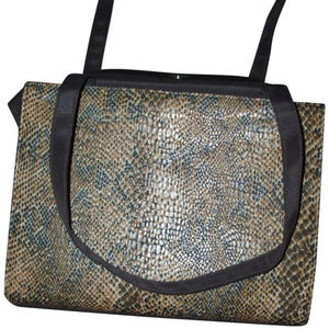 Vegan fabric tote leopard print vintage bag